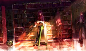 Rating: Safe Score: 1502 Tags: book brown_eyes cao_xiong headphones leaves long_hair makise_kurisu pantyhose photoshop purple_hair reflection shorts steins;gate tie User: Dummy