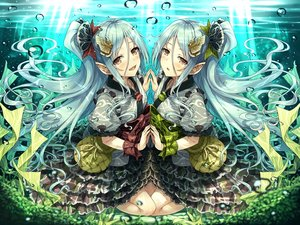 Rating: Safe Score: 55 Tags: 2girls hasumi_(hasubatake39) lolita_fashion long_hair original pointed_ears twins underwater water User: BattlequeenYume