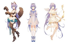 Rating: Safe Score: 47 Tags: animal_ears boots bow_(weapon) collar cosplay dress green_eyes long_hair luo_tianyi purple_hair tail thighhighs tidsean vocaloid vsinger weapon white wolfgirl User: BattlequeenYume