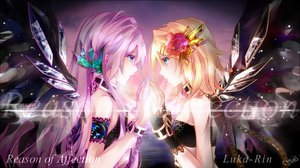 Rating: Safe Score: 204 Tags: 2girls blonde_hair blue_eyes chain flowers kagamine_rin long_hair megurine_luka pink_hair short_hair tyouya vocaloid wings User: opai