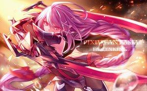 Rating: Safe Score: 180 Tags: armor ass blood braids long_hair original pixiv_fantasia purple_eyes purple_hair steelleets sword weapon User: opai