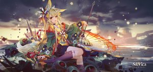 Rating: Safe Score: 39 Tags: animal_ears blonde_hair clouds fang foxgirl izumi_(sdorica) japanese_clothes logo long_hair red_eyes sdorica_-sunset- sky tagme_(artist) tail umbrella User: BattlequeenYume