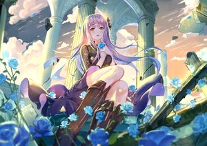 Rating: Safe Score: 92 Tags: clouds dress flowers long_hair onmyouji purple_hair rose ruins shan-n sky tagme_(character) yellow_eyes User: BattlequeenYume