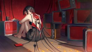 Rating: Safe Score: 125 Tags: barefoot black_hair doll dress food ji_dao_ji long_hair original phone red_eyes summer_dress techgirl twintails User: BattlequeenYume