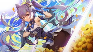 Rating: Safe Score: 15 Tags: ass clouds flowers genshin_impact keqing_(genshin_impact) long_hair moonofmonster sky sword twintails weapon User: Dreista