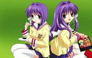 Rating: Safe Score: 10 Tags: 2girls clannad food fujibayashi_kyou fujibayashi_ryou twins User: Oyashiro-sama