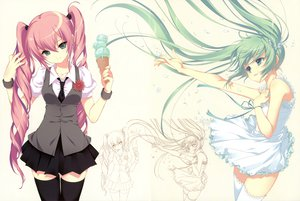 Rating: Safe Score: 150 Tags: dmyo dress hatsune_miku ice_cream scan seifuku thighhighs twintails vocaloid white User: Wiresetc