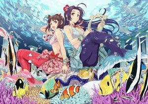 Rating: Safe Score: 114 Tags: amami_haruka animal bubbles fish flowers idolmaster instrument mermaid miura_azusa red_eyes tail tsurui water User: opai