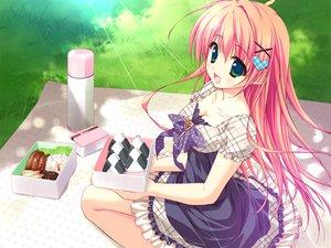 Rating: Safe Score: 135 Tags: breasts cleavage dress feng food game_cg grass hoshizora_e_kakaru_hashi long_hair nakatsugawa_ui orange_hair ryohka User: Wiresetc