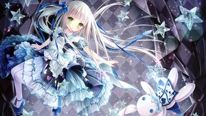 Rating: Safe Score: 103 Tags: alice_in_wonderland cropped dress green_eyes loli lolita_fashion long_hair pantyhose ribbons scan see_through tinkle twintails white_hair User: gnarf1975