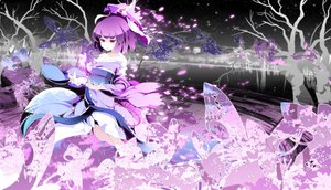 Rating: Safe Score: 48 Tags: butterfly cherry_blossoms hat japanese_clothes kimono petals purple_eyes purple_hair saigyouji_yuyuko short_hair sky stars touhou tree water User: Tensa