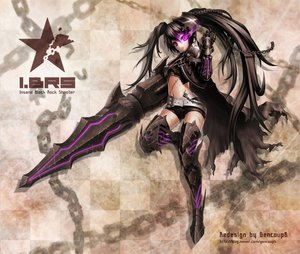 Rating: Safe Score: 126 Tags: armor black_hair black_rock_shooter chain insane_black_rock_shooter long_hair purple_eyes scar thighhighs weapon User: HawthorneKitty