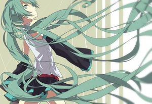 Rating: Safe Score: 80 Tags: aqua_eyes aqua_hair hatsune_miku long_hair rituiti skirt twintails vocaloid User: FormX