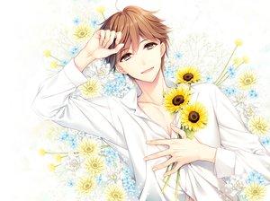 Rating: Safe Score: 7 Tags: all_male brown_hair flowers male original short_hair sunflower yuka_(mischief) User: mattiasc02