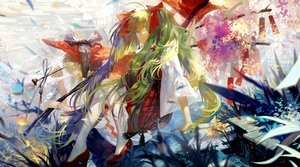 Rating: Safe Score: 67 Tags: 2girls animal blonde_hair bow fish glasses green_eyes green_hair gumi hatsune_miku japanese_clothes long_hair short_hair tang_elen twintails vocaloid User: FormX