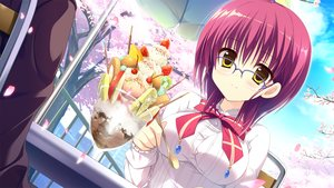 Rating: Safe Score: 76 Tags: bow food fruit game_cg glasses ice_cream inugami_kira kashiwabara_mii majo_koi_nikki qoobrand red_hair yellow_eyes User: C4R10Z123GT