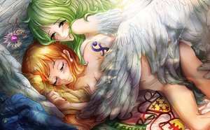 Rating: Questionable Score: 82 Tags: 2girls cherryinthesun green_hair monet_(one_piece) nami navel nude one_piece sleeping wings yuri User: Freenight