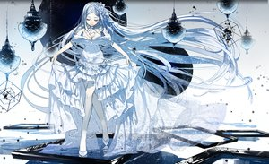Rating: Safe Score: 76 Tags: dress flowers g.g.lemon headband long_hair mirror original white_hair User: RyuZU