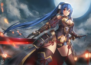 Rating: Safe Score: 356 Tags: armor blue_hair breasts cape cleavage katana long_hair luzi moon navel original red_eyes sword thighhighs weapon User: Flandre93