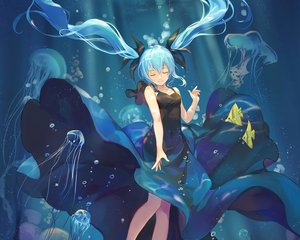 Rating: Safe Score: 45 Tags: animal aqua_hair atdan bubbles cropped deep-sea_girl_(vocaloid) dress fish hatsune_miku long_hair twintails underwater vocaloid water User: RyuZU