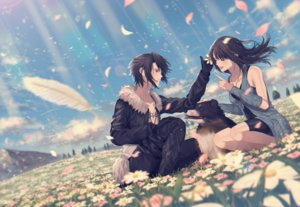 Rating: Safe Score: 16 Tags: animal black_hair brown_hair clouds dog feathers final_fantasy final_fantasy_viii flowers gloves grass long_hair male necklace rinoa_heartilly short_hair shorts sky squall_leonhart tagme_(artist) User: BattlequeenYume