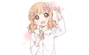 Rating: Safe Score: 31 Tags: brown_eyes brown_hair flowers food namori oomuro_sakurako short_hair twintails white yuru_yuri User: RyuZU