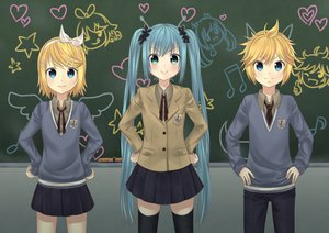 Rating: Safe Score: 78 Tags: aliceword hatsune_miku kagamine_len kagamine_rin seifuku vocaloid User: FormX