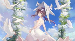 Rating: Safe Score: 64 Tags: animal arknights bird brown_eyes brown_hair butterfly clouds dress flowers hat headdress long_hair purestream_(arknights) sky tears twintails wristwear yizhibao User: sadodere-chan
