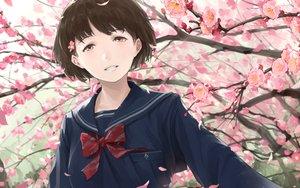 Rating: Safe Score: 21 Tags: bow brown_hair cherry_blossoms close flowers original petals pink_eyes school_uniform short_hair somehira_katsu User: RyuZU