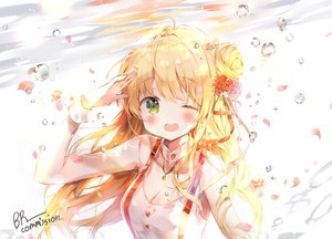 Rating: Safe Score: 49 Tags: blonde_hair blush breasts bubbles cleavage collar dohj001 green_eyes long_hair necklace original petals signed underwater water wink wristwear yellow_eyes User: otaku_emmy