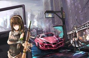 Rating: Safe Score: 45 Tags: brown_eyes brown_hair car girls_frontline robot ruins weapon User: luckyluna