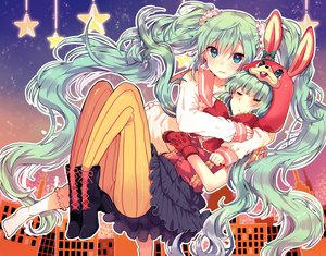 Rating: Safe Score: 100 Tags: animal_ears aqua_eyes blush boots bunny_ears gloves green_hair hatsune_miku hoodie hug ikeuchi_tanuma kneehighs long_hair lots_of_laugh_(vocaloid) pantyhose seifuku skirt socks twintails vocaloid User: otaku_emmy