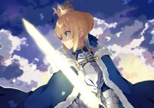 Rating: Safe Score: 43 Tags: aliasing armor blonde_hair cape clouds dress elbow_gloves fate_(series) fate/stay_night gloves green_eyes hatsuko saber short_hair sky sword weapon User: RyuZU