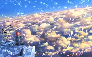 Rating: Safe Score: 24 Tags: animal bou_nin cat clouds drink original red_hair scenic short_hair sky User: RyuZU
