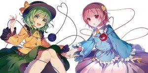 Rating: Safe Score: 44 Tags: 2girls aliasing bow green_eyes green_hair hat headband komeiji_koishi komeiji_satori pink_eyes pink_hair short_hair taranbo touhou User: RyuZU