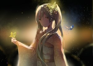 Rating: Safe Score: 76 Tags: 42441ney green_hair hatsune_miku japanese_clothes kimono long_hair twintails vocaloid yellow_eyes User: BattlequeenYume