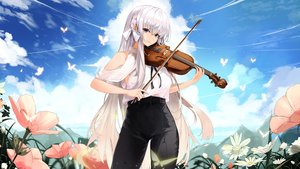 Rating: Safe Score: 31 Tags: aliasing butterfly clouds flowers instrument kooemong long_hair original sky violin white_hair User: BattlequeenYume