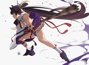 Rating: Questionable Score: 72 Tags: armor black_hair blue_eyes breasts fate/grand_order fate_(series) feathers katana long_hair panties ponytail samurai signed socks sword topless underwear ushiwakamaru_(fate/grand_order) weapon white yang-do User: Dreista