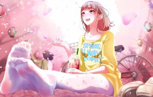 Rating: Safe Score: 70 Tags: bicycle blush brown_eyes brown_hair cherry_blossoms drink flowers natsui_tuna original pantyhose spring tree User: BattlequeenYume