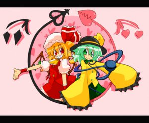 Rating: Safe Score: 6 Tags: blonde_hair flandre_scarlet green_eyes green_hair hat komeiji_koishi red_eyes ribbons short_hair skirt touhou wings User: Kunimura