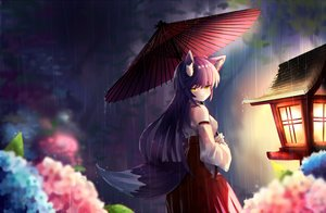 Rating: Safe Score: 16 Tags: animal_ears flowers foxgirl japanese_clothes miko night original rain tagme_(artist) tail umbrella water User: RyuZU