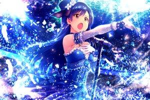 Rating: Safe Score: 65 Tags: blue blue_hair brown_eyes dress elbow_gloves gloves hat idolmaster ima_(lm_ew) kisaragi_chihaya long_hair microphone User: Flandre93