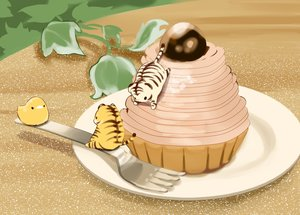 Rating: Safe Score: 17 Tags: aliasing animal bird cake chai_(artist) chibi food nobody original tiger User: otaku_emmy