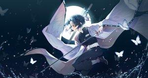 Rating: Safe Score: 78 Tags: 00suger001 butterfly katana kimetsu_no_yaiba kochou_shinobu moon sword water weapon User: FormX