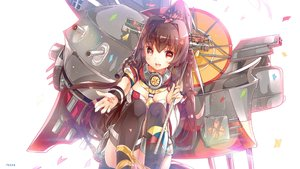 Rating: Safe Score: 134 Tags: anthropomorphism brown_hair heco_(mama) kantai_collection long_hair petals ponytail thighhighs yamato_(kancolle) User: Flandre93