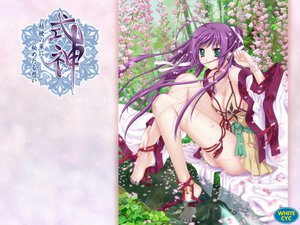 Rating: Safe Score: 21 Tags: barefoot blue_eyes blue_hair bow breasts cleavage flowers grass japanese_clothes leaves long_hair ponytail tree water watermark white_cyc User: Oyashiro-sama
