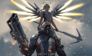 Rating: Safe Score: 77 Tags: gun jpeg_artifacts logo male mercy_(overwatch) overwatch soldier:_76 watermark weapon wings wlop User: RyuZU