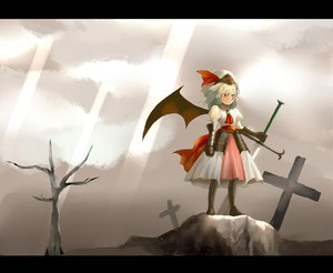 Rating: Safe Score: 23 Tags: armor cross remilia_scarlet sky sword touhou vampire weapon wings User: Tensa