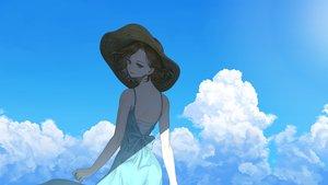 Rating: Safe Score: 36 Tags: brown_eyes brown_hair clouds dress hat ojo_aa original short_hair signed sky User: RyuZU