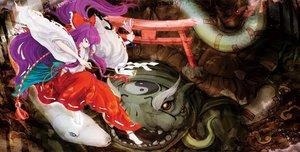 Rating: Safe Score: 58 Tags: animal bow genjii hakurei_reimu japanese_clothes long_hair miko purple_hair sherrybt snake torii touhou turtle twintails User: C4R10Z123GT